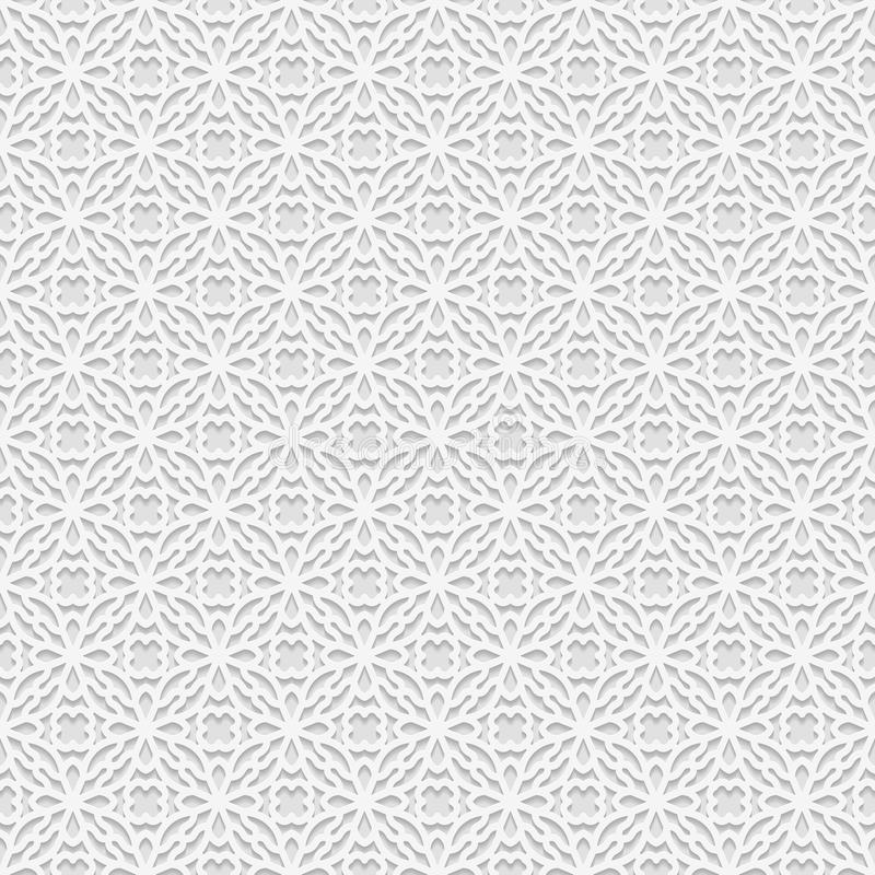 Seamless white 3D pattern, arabic motif, east ornament, royalty free illustration