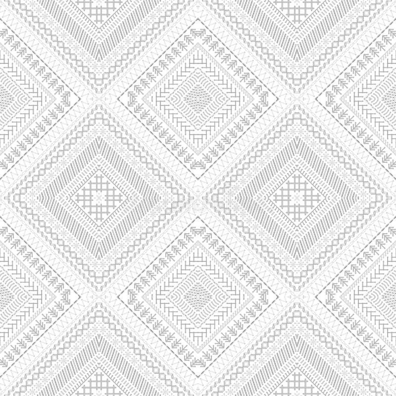 Seamless white ethnic pattern. stock illustration