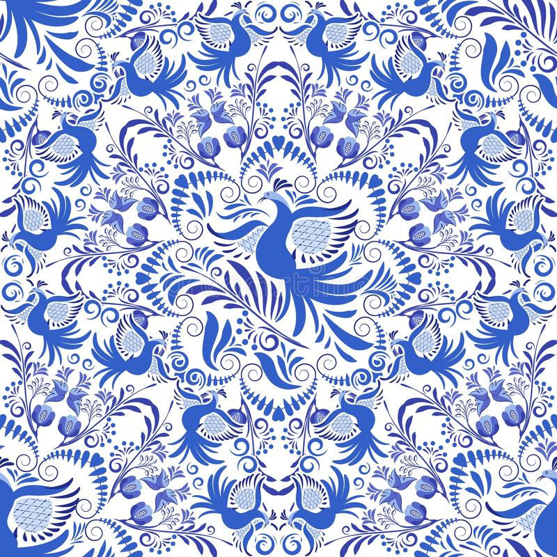 seamless white för blå modell Bakgrund av runda prydnader med fåglar och blommor Design i stilen av folk målning på royaltyfri illustrationer