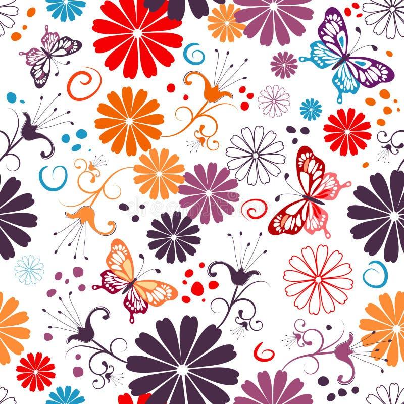 seamless white för blom- modell stock illustrationer