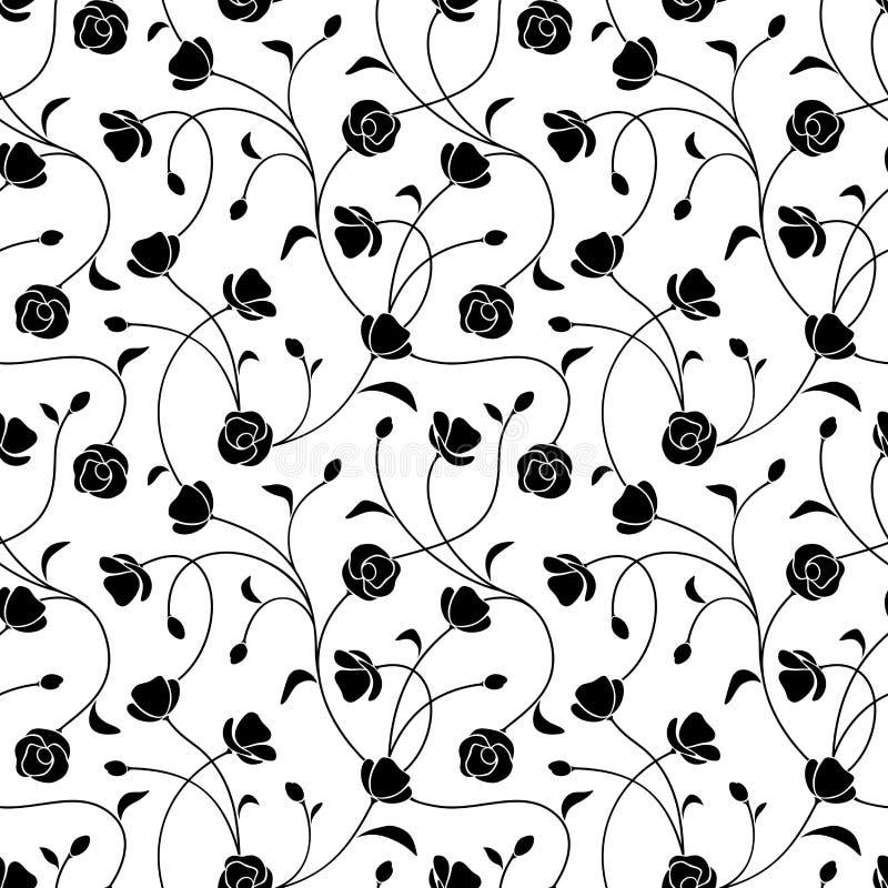 seamless white för svart blom- modell också vektor för coreldrawillustration royaltyfri illustrationer
