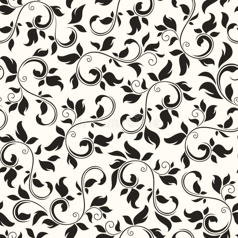 seamless white för svart blom- modell också vektor för coreldrawillustration vektor illustrationer