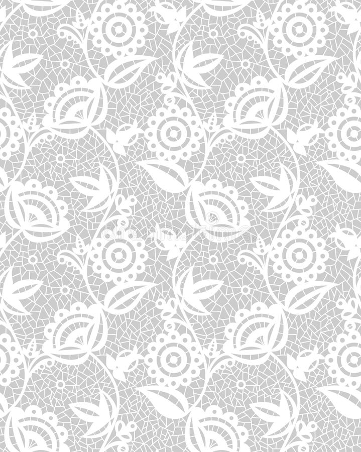 Seamless white floral lace pattern stock illustration