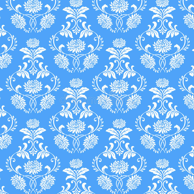 Seamless white flower pattern on blue background royalty free stock photo