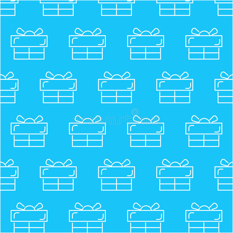 Seamless white gift box abstract pattern with blue background, vector, copy space for text, pastel theme, pa stock illustration