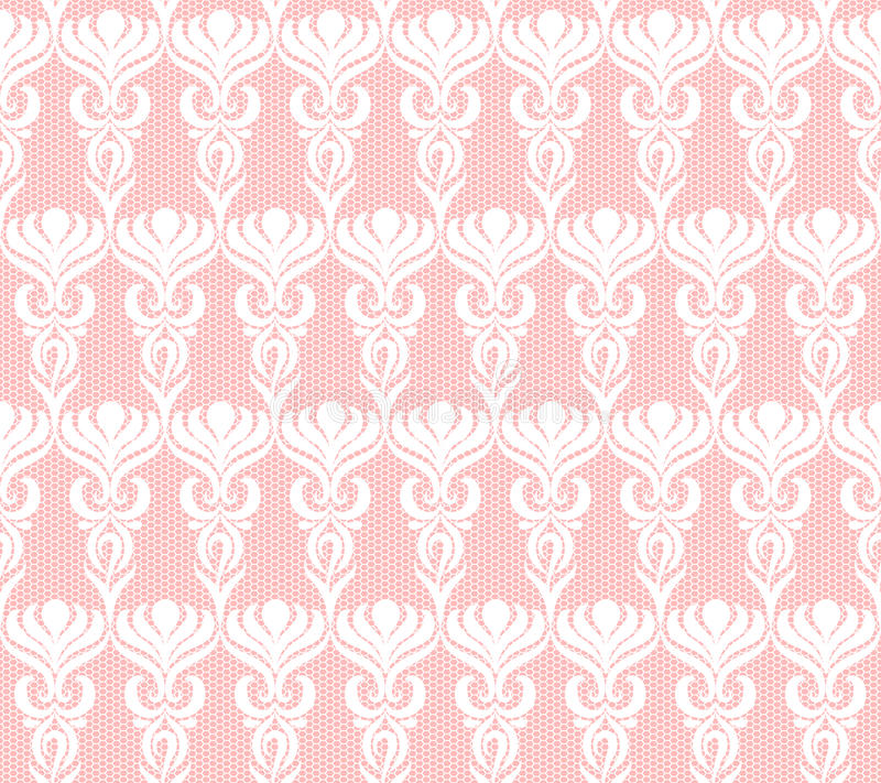 Seamless white lace pattern. On pink background royalty free illustration
