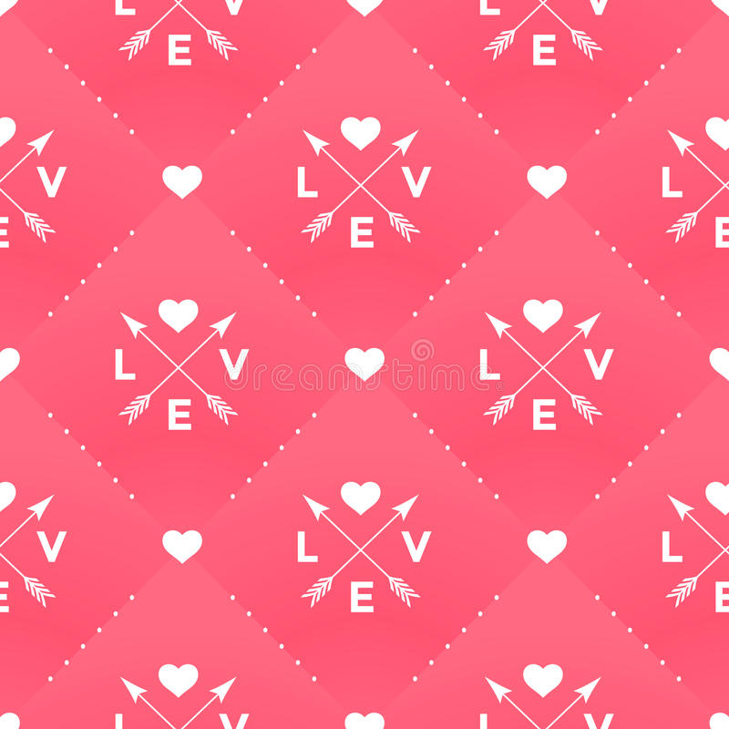 Seamless white pattern with Love, heart and arrow in vintage style on a red background for Valentine's Day vector illustration
