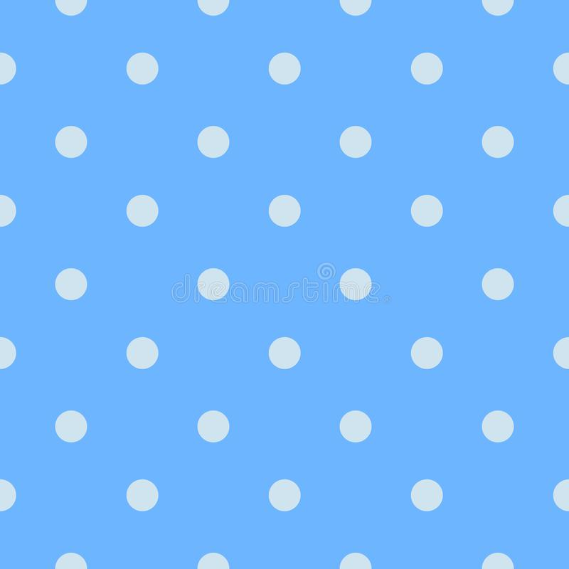 Seamless white polka dots pattern in a pastel blue teal background. Can be used for backgrounds, packaging, fabric, scrap booking and gift wrap projects stock illustration