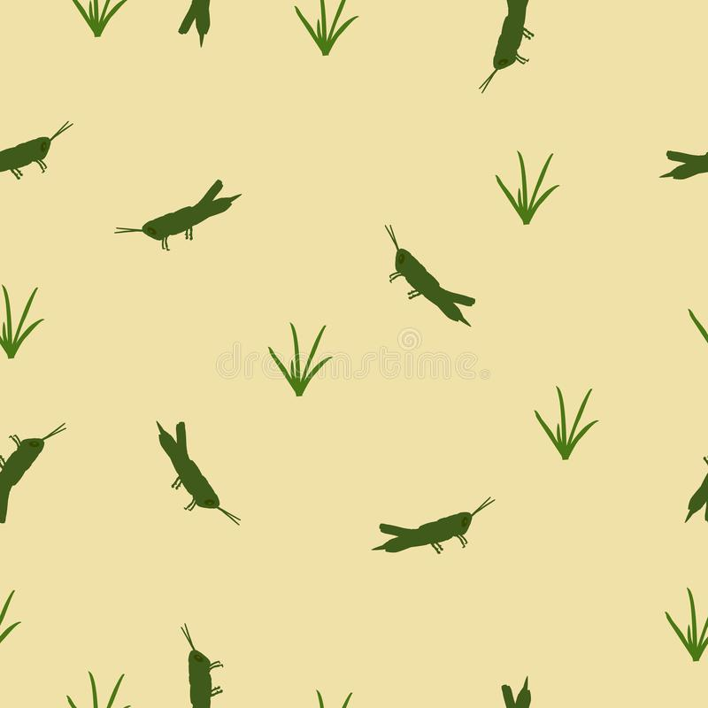 Seamless pattern green Locust and grass on yellow, vector eps 10. Seamless wild animals pattern cute small green Locust and grass silhouette on yellow background royalty free illustration
