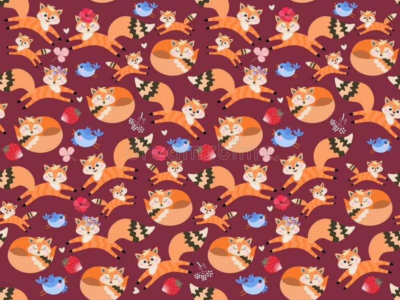 Seamless wildlife pattern with large and small foxes, funny birds, flowers and red strawberries on purple background.  vector illustration