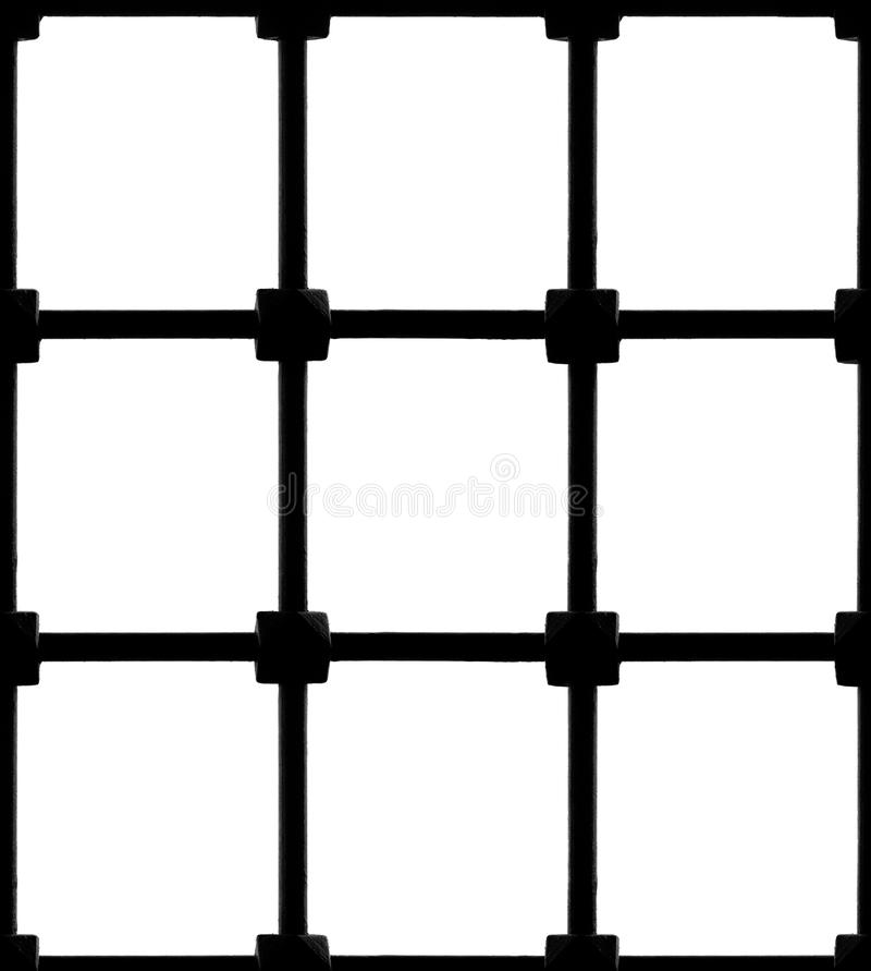 Seamless Window Fence. Photo of a seamless window fence, isolated on white background. Bars are aligned for seamless horizontal and vertical tile royalty free stock image