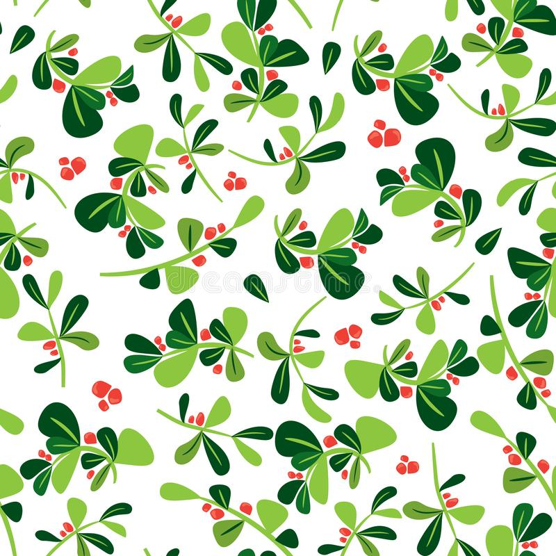 Seamless winter floral pattern. Flat vector Christmas background with holly berry plant. Green leaves and red berries in tile royalty free illustration