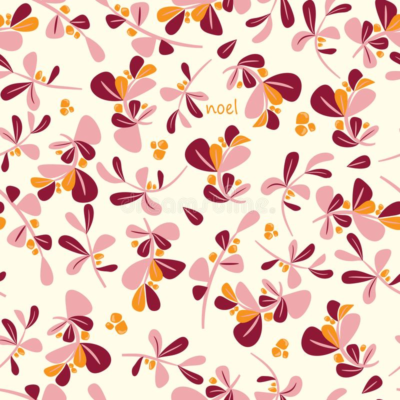 Seamless winter floral pattern. Flat vector Christmas background stock illustration