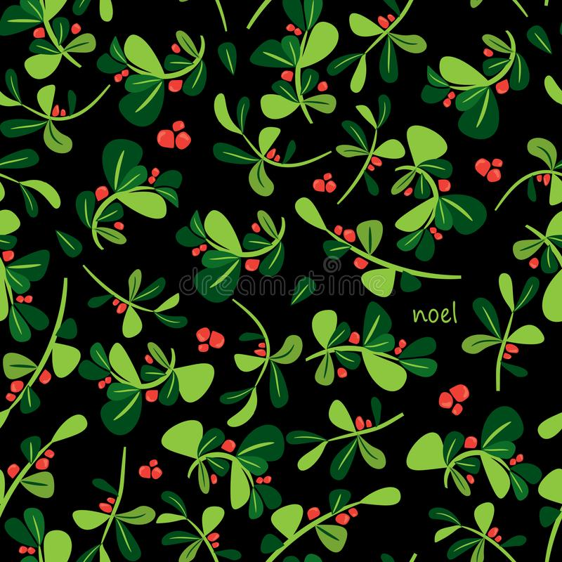 Seamless winter floral pattern. Flat vector Christmas background vector illustration