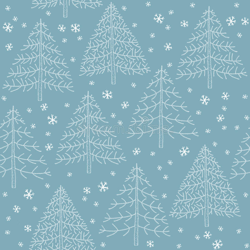 Seamless Winter Forest Pattern stock illustration