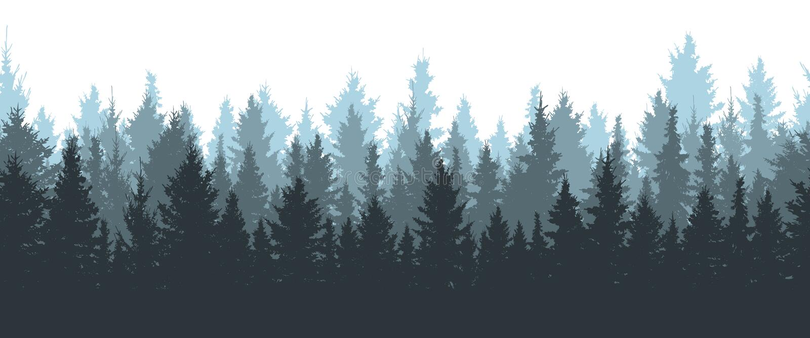 Seamless winter forest, silhouette of spruces. Vector illustration vector illustration