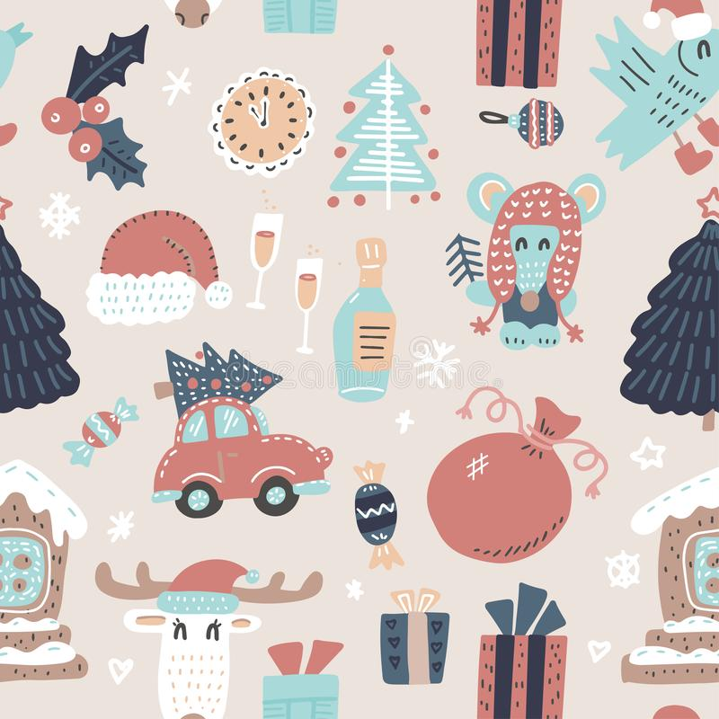 Seamless winter holidays pattern with funny cartoon deer, mouse, Xmas tree, Gingerbread house on snowy light biege background. Vector illustration. Design for stock illustration