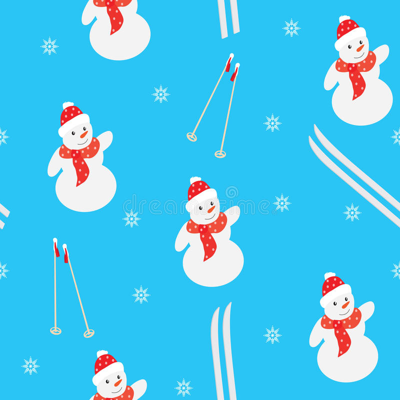 Seamless winter pattern on a blue background royalty free illustration
