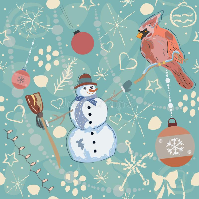Seamless Winter Pattern with Christmas Ornaments vector illustration