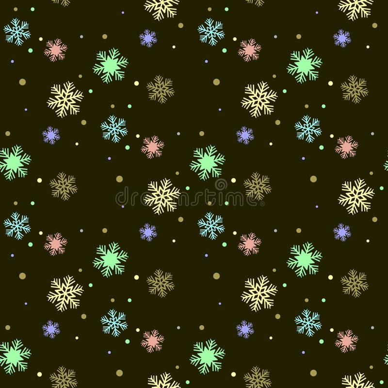 Seamless winter pattern with colorful snowflakes. Girlish cute style. Vector flat design. stock illustration