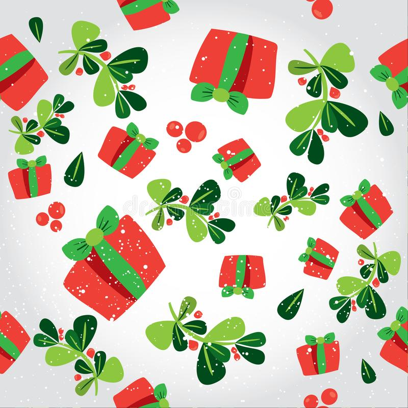 Seamless winter pattern with a red gift boxes and holli berries . Flat vector Christmas background with the presents. Tile modern royalty free illustration