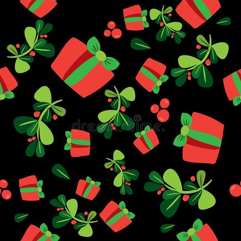 Seamless winter pattern with a red gift boxes and holli berries royalty free illustration