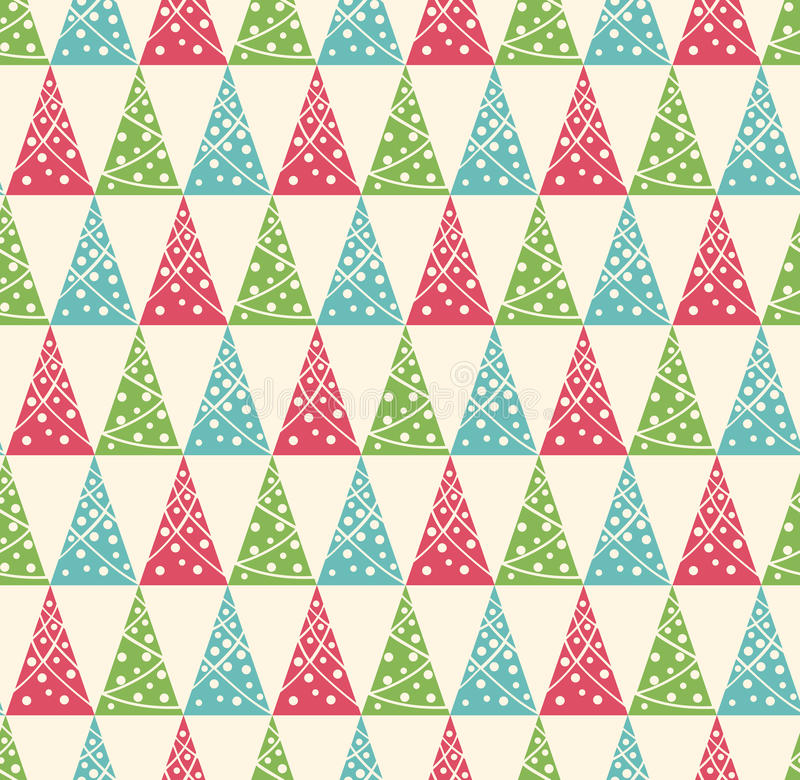 Seamless Winter Pattern with Stylized Decoration Christmas Trees vector illustration