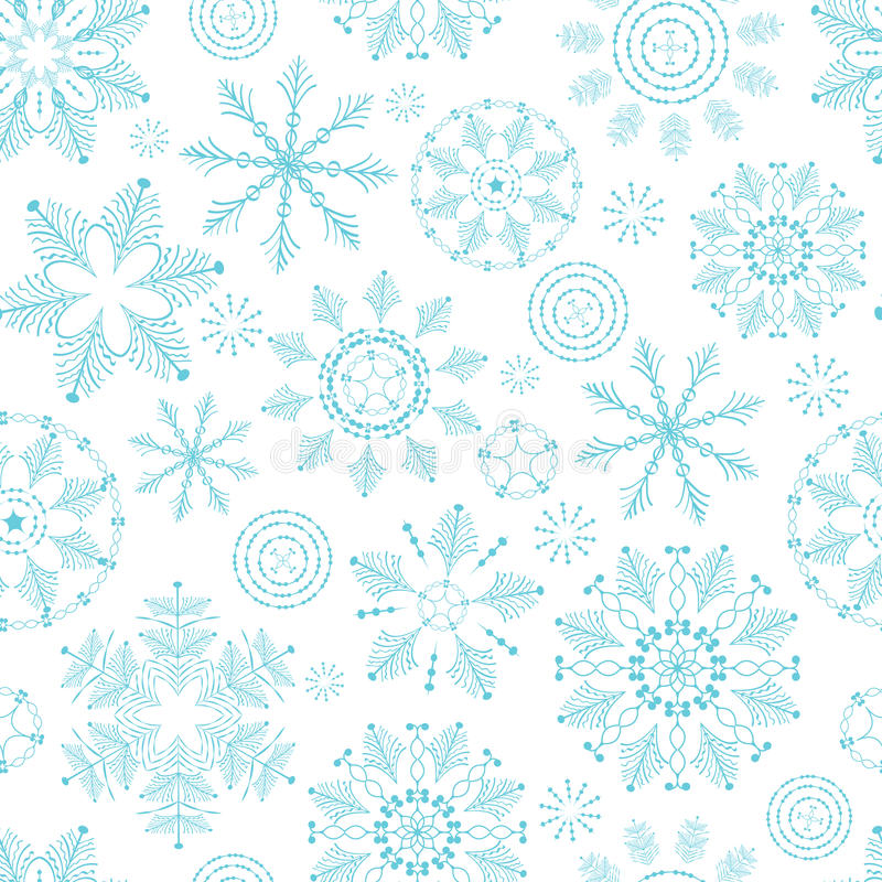 Seamless winter texture with snowflakes. New Year background. Christmas template. stock illustration