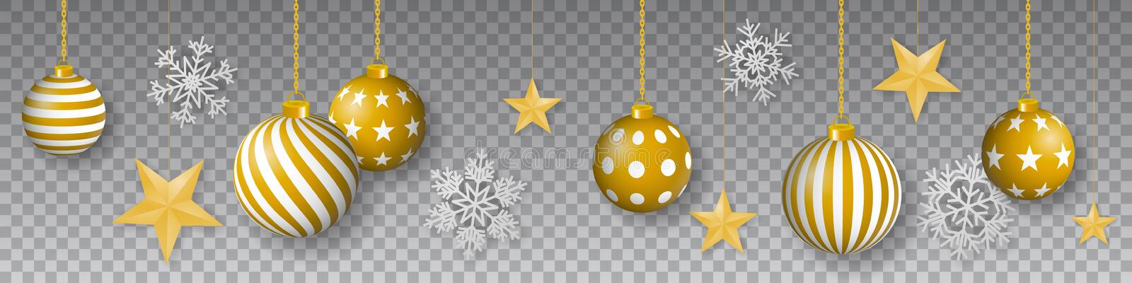 Seamless winter vector with hanging gold colored decorated christmas ornaments, golden stars and snowflakes on gray background royalty free illustration