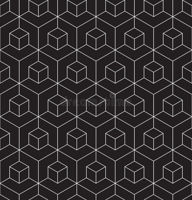 Seamless wireframe cubic abstract geometric isometric pattern background texture. Seamless wireframe cubic abstract geometric isometric line pattern background stock illustration
