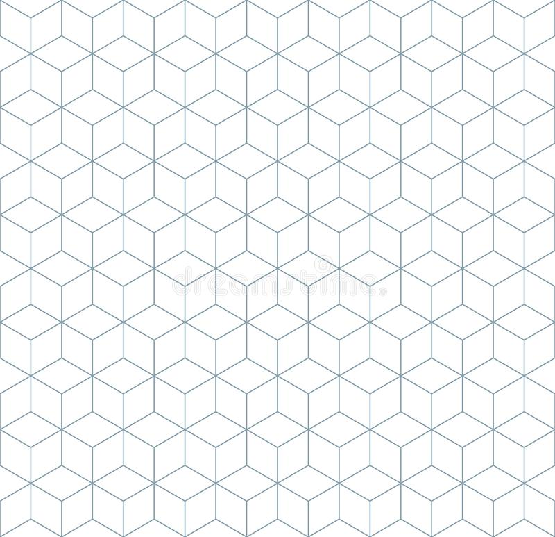 Seamless wireframe cubic abstract geometric isometric pattern background texture. Seamless wireframe cubic abstract geometric isometric line pattern background royalty free illustration