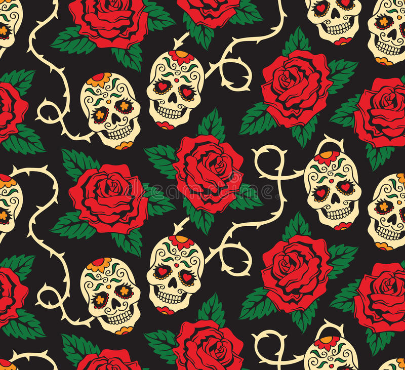 Free Seamless With Roses And Skulls Royalty Free Stock Photography - 26944997
