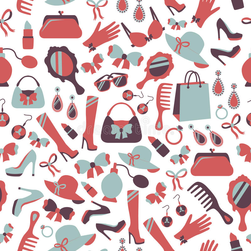 Seamless woman accessories background vector illustration
