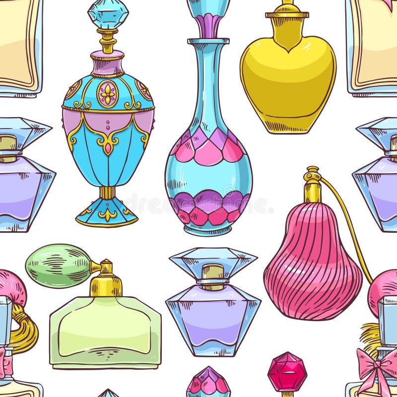 Seamless womens colorful perfume bottles stock illustration