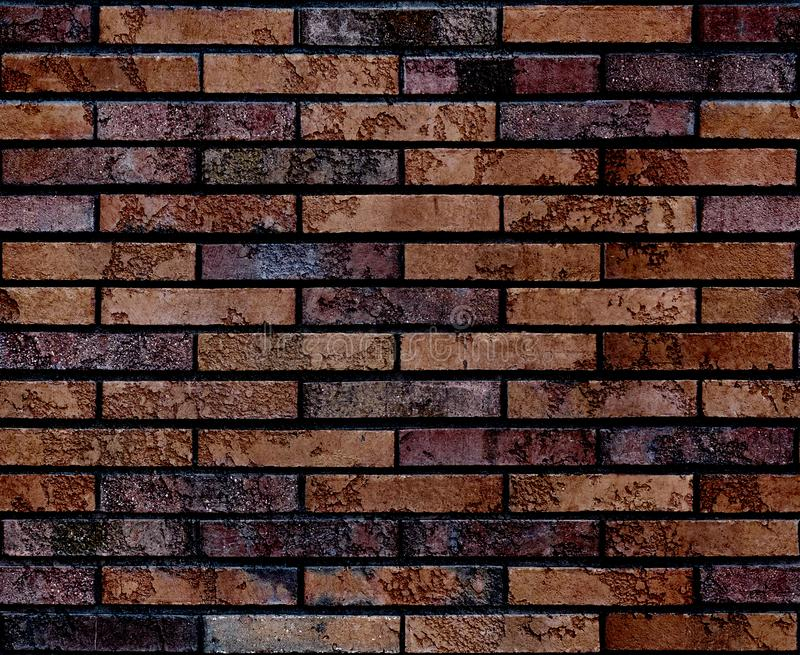 Seamless worn grunge brown brick wall pattern background texture. Seamless brick wall background. Architectural seamless brick pat royalty free stock photography