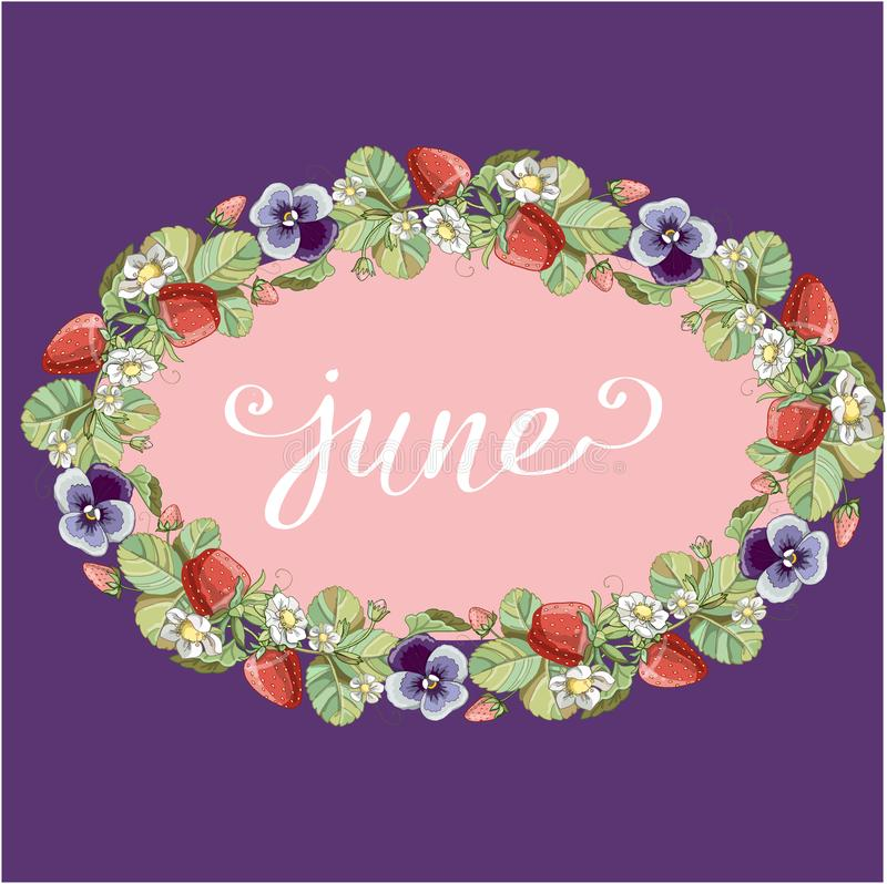 Seamless wreath with floral romantic elements, strawberry and violet. royalty free stock image