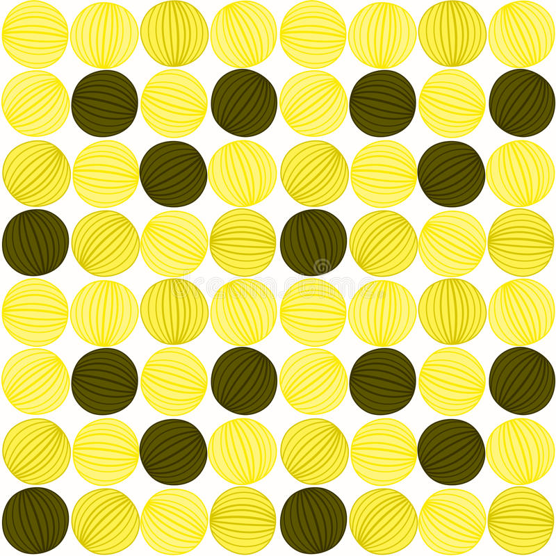 Seamless yellow abstract balls striped pattern vector illustration
