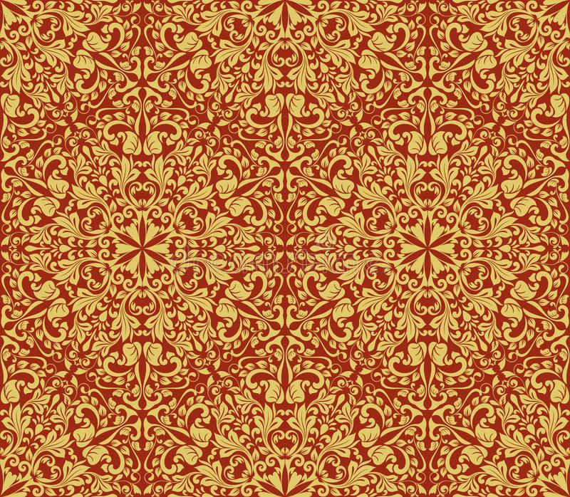 Seamless Yellow And Dark Red Floral Wallpaper Vector Background Vintage Damask Pattern Backdrop