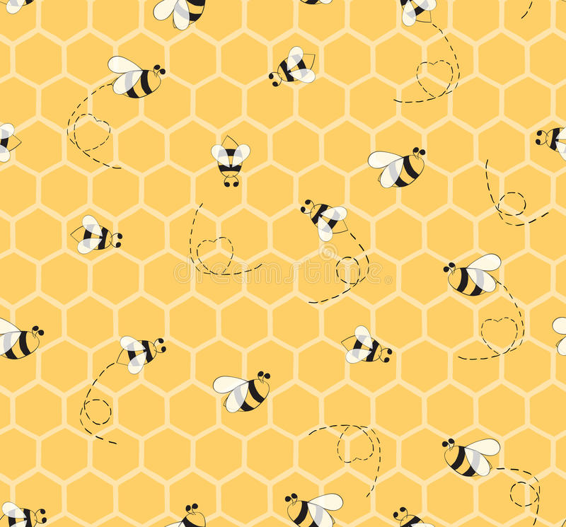 Seamless Yellow Pattern With Bees And Honeycombs ...