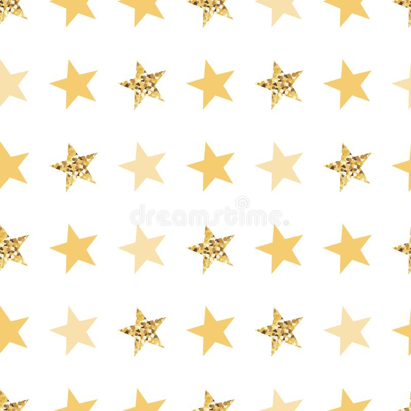 Seamless yellow pattern with gold yellow stars Vector illustration Sunny background vector illustration