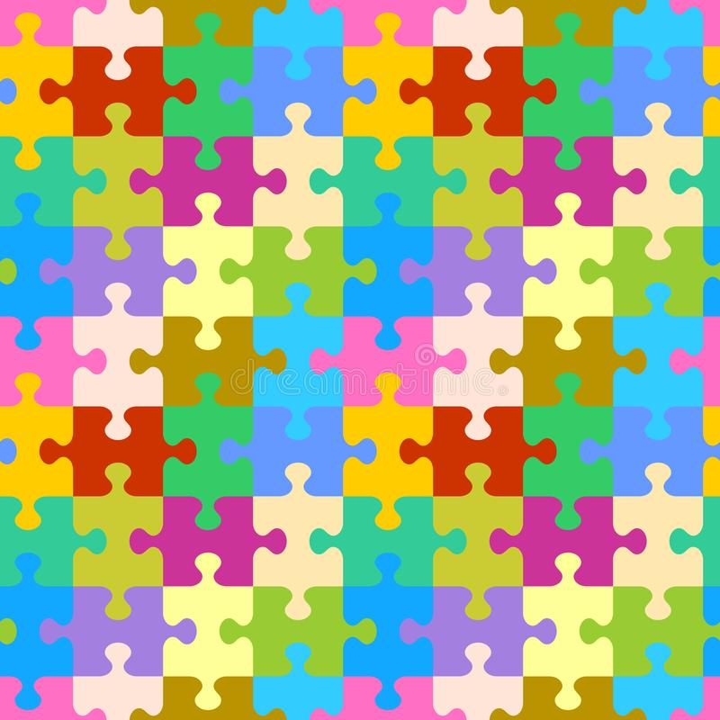 Seamless colorful jigsaw puzzle pattern vector illustration