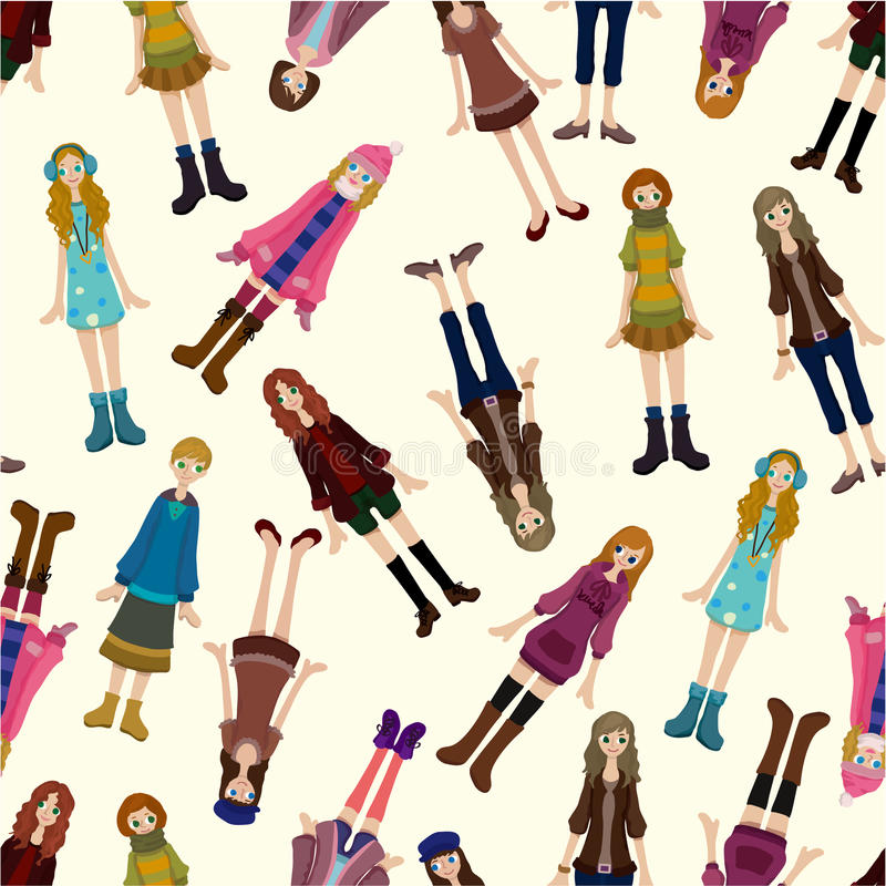 Download Seamless Young Girl Pattern Stock Vector - Image: 18917565