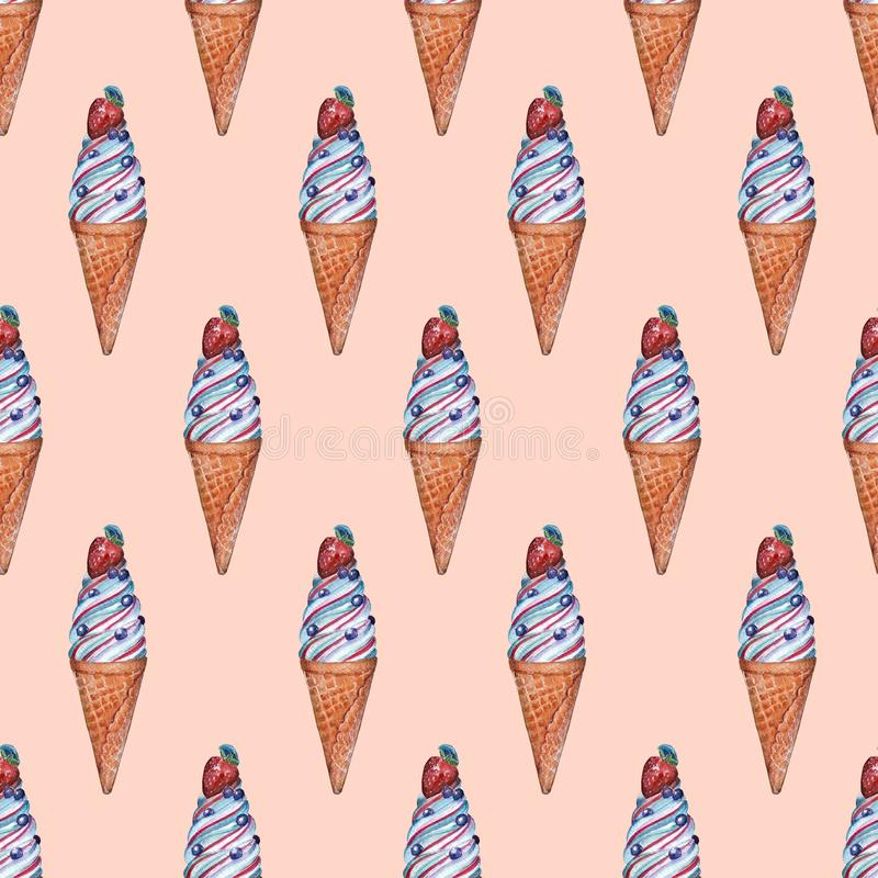 Seamless pattern with ice cream vector illustration