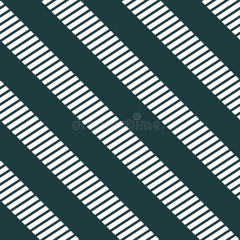 Seamless zebra crossing pattern. Monochrome, White lines on black background. Geometric layout. Gift wrapping paper. Bed sheets and interior vector illustration