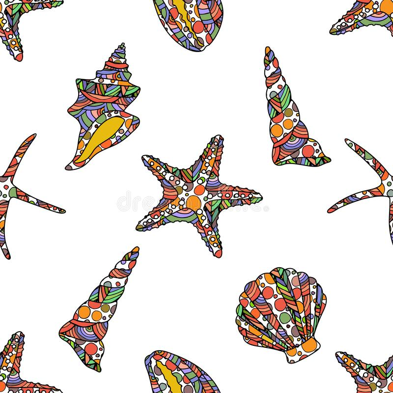 Seamless zen art style pattern with starfish and conch shells on white background. Stock vector illustration royalty free illustration