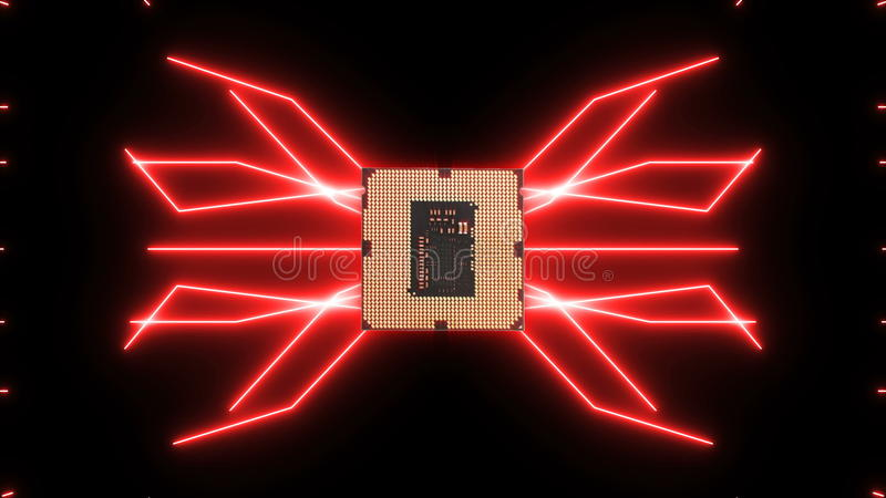 Seamlessly looping video of futuristic circuit board with moving red electrons with CPU royalty free stock photos