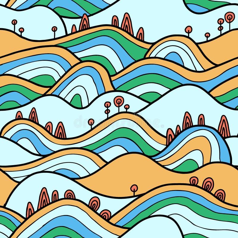 Seamlesspattern με τους λόφους, τους τομείς και τα δέντρα απεικόνιση αποθεμάτων