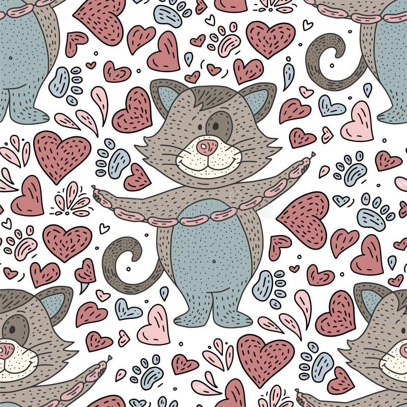 Seamlesss doodle koloru wzór dla dzieciaków również zwrócić corel ilustracji wektora ilustracja wektor