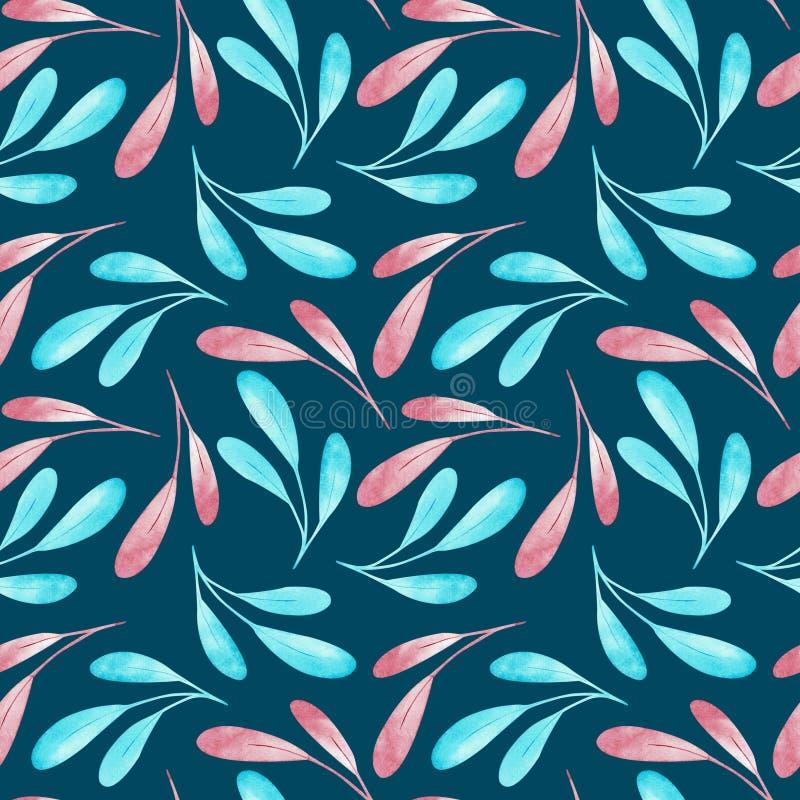 Seamplesspatroon van roze en blauwe die takken op donkerblauwe achtergrond worden geïsoleerd De illustratie van de waterverf stock illustratie