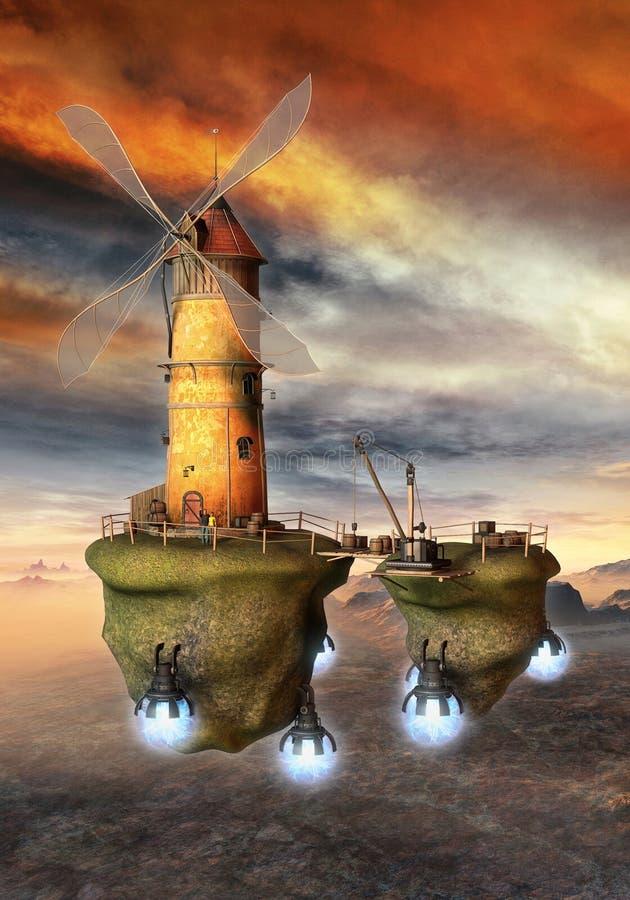Seampunk da ficção científica da fantasia do moinho de vento do voo ilustração royalty free